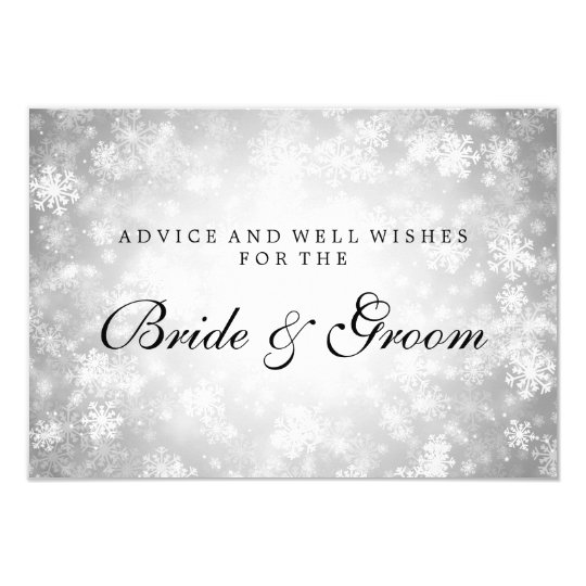 Wedding Advice Card Silver Winter Wonderland
