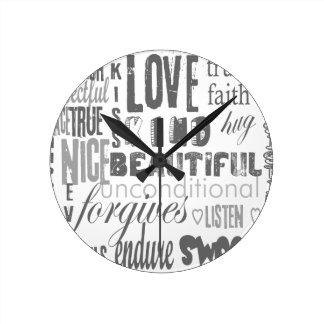 Wedding Anniversary Corinthians Faith Hope Love Round Clock