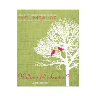Wedding anniversary Faith Hope Love  tree print