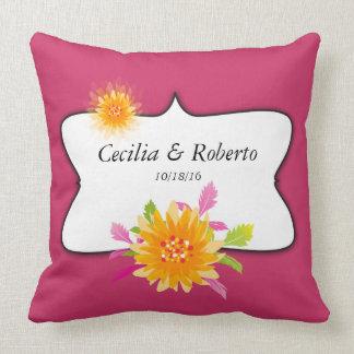 Wedding Anniversary Floral Personalized Monogram Cushion