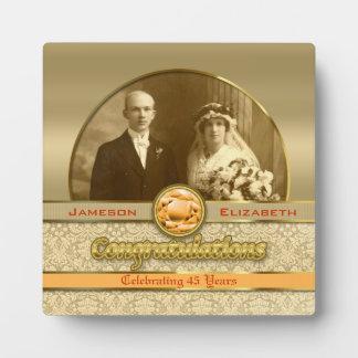 Wedding Anniversary Orange Topaz Gem Damask Photo Photo Plaque
