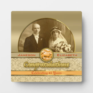 Wedding Anniversary Orange Topaz Gem Damask Photo Plaque