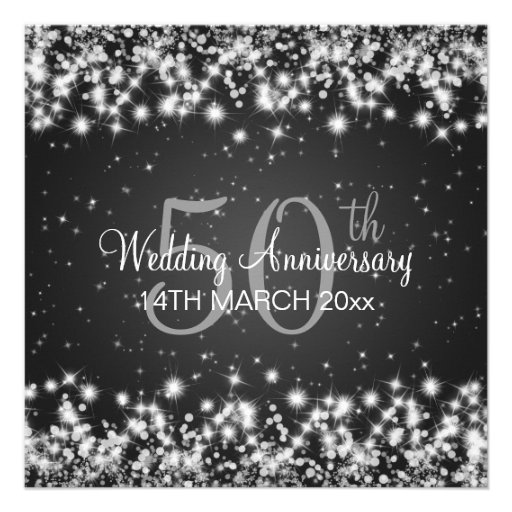 Wedding Anniversary Party Winter Sparkle Black Invite