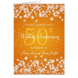 Wedding Anniversary Party Winter Sparkle Orange Card