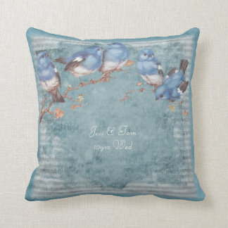Wedding Anniversary Watercolor birds personalized Cushion