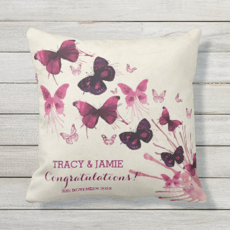 Wedding Anniversary Watercolor Pink Butterflies Throw Pillow