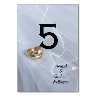 Wedding Bands on Veil Table Cards