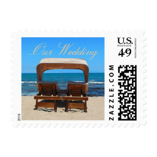 Wedding Beach Chairs in Sand Stamps