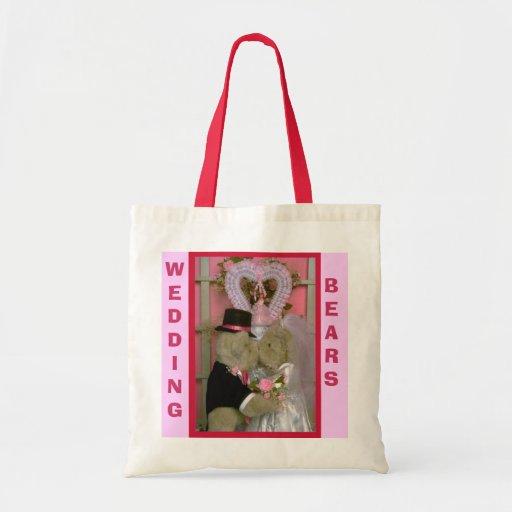 Wedding bears under a heart canvas bags