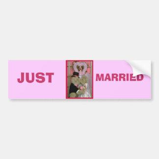 Wedding bears under a heart car bumper sticker