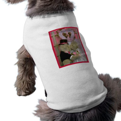 Wedding bears under a heart doggie tshirt