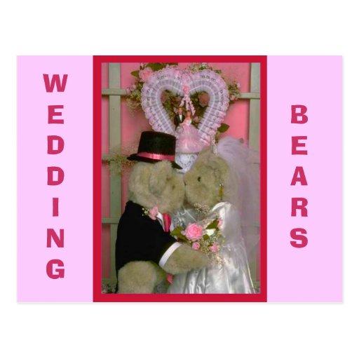 Wedding bears under a heart postcard