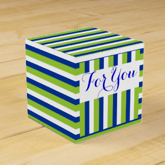 Wedding blue green stripes DIY 1 Favour Boxes