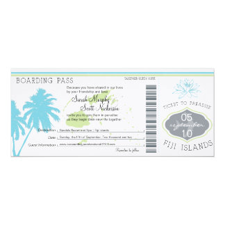 Wedding Boarding Pass to Fiji Islands 10 Cm X 24 Cm Invitation Card