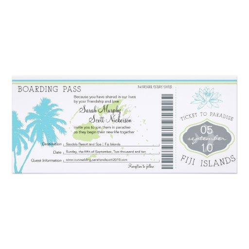 Wedding Boarding Pass to Fiji Islands Invites