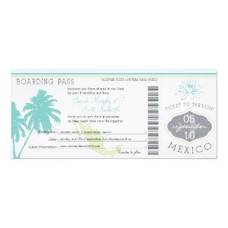 Wedding Boarding Pass to Mexico 10 Cm X 24 Cm Invitation Card