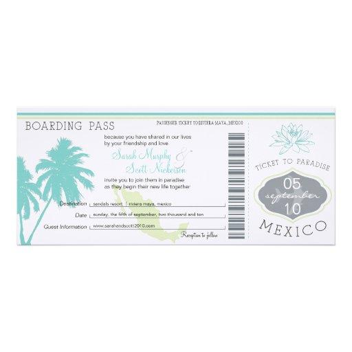 Wedding Boarding Pass to Mexico Invite