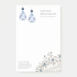 Wedding Bridal Jewellery Accessories Blue Earrings Post-it Notes