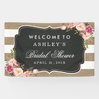 Wedding Bridal Shower Rustic Burlap Stripes Floral
