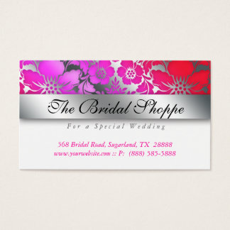 Wedding Business Card Damask Floral Silver Pink Re