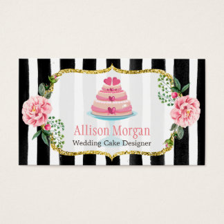 Wedding Cake Design Gold Pink Floral Striped