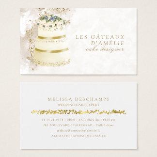 Wedding Cake Designer Bakery Gold Marble Business Card