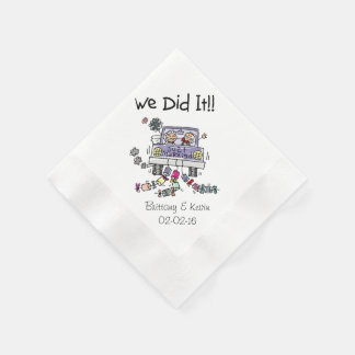 Wedding Car We Did It Personalised Paper  Napkins Disposable Napkins