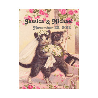 Wedding Cats Customizable Wedding Date Canvas Print