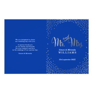 WEDDING CEREMONY PROGRAM mini silver confetti blue Flyer