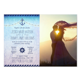 Wedding Couple Sunset Romance/nautic theme 13 Cm X 18 Cm Invitation Card