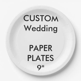 "Wedding Custom Large Luncheon Paper Plates 9"" 9 Inch Paper Plate"
