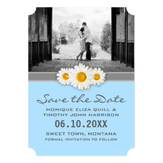 Wedding Daisy Ribbon Blue Gray White Save the Date Card
