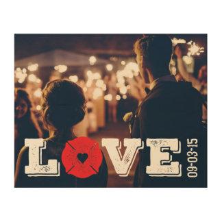 Wedding Date Fireman Love Firefighter Heart Logo Wood Print