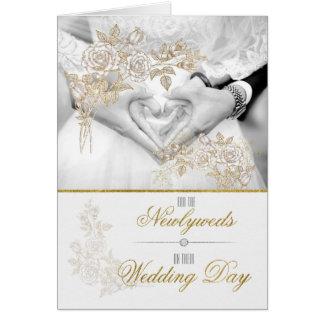 Wedding Day Congratulations in Faux Gold Leaf Greeting Card