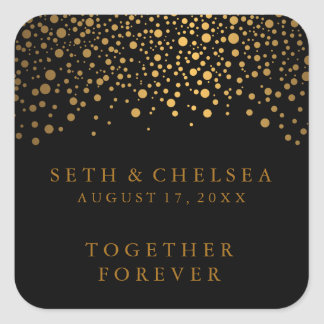 Wedding Day Gold Dots on Black | Personalise Square Sticker