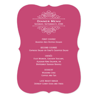 Wedding Dinner Menu Card | Raspberry Red