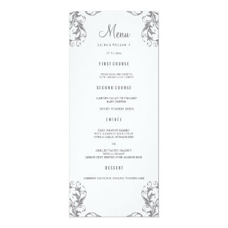 Wedding Dinner Menu Cards | Gray Damask Style 10 Cm X 24 Cm Invitation Card