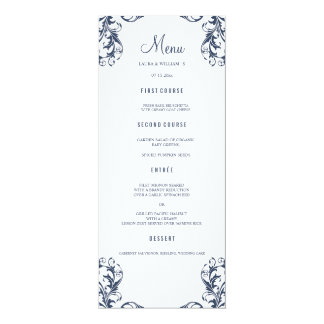 Wedding Dinner Menu Cards | Navy Blue Damask Style 10 Cm X 24 Cm Invitation Card