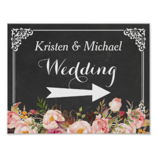 Wedding Direction Sign | Vintage Chalkboard Floral Poster