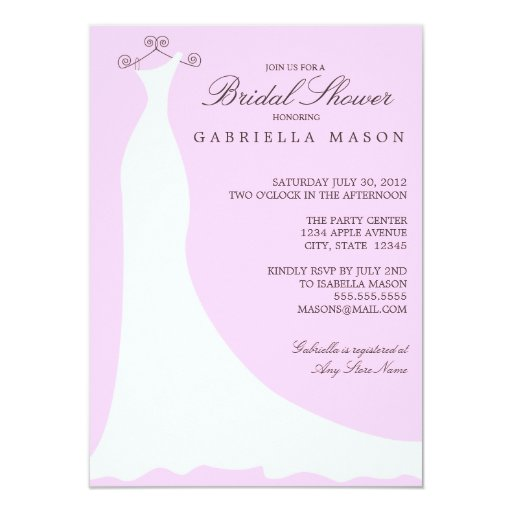 Wedding Dress | Cotton Candy 11 Cm X 16 Cm Invitation Card
