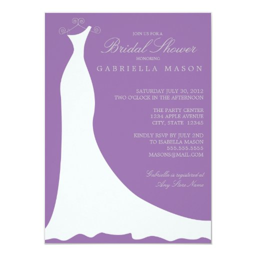 Wedding Dress | Grape 11 Cm X 16 Cm Invitation Card