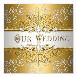 Wedding Elegant Gold Silver Lace Diamond 13 Cm X 13 Cm Square Invitation Card