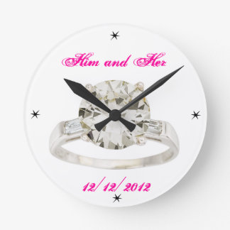Wedding Engagement Add Names Date Modern Acryllic Wall Clock