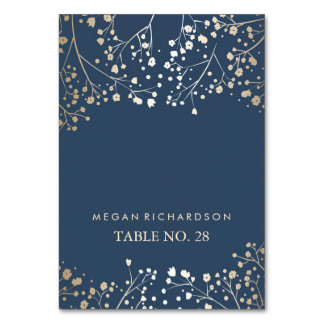wedding escort cards navy baby's breath gold table cards