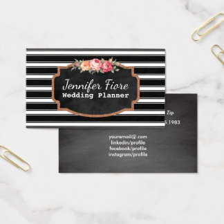 Wedding Event Planner Chalkboard Floral B&W Business Card