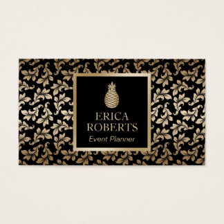 Wedding Event Planner Luxury Damask Gold Pineapple