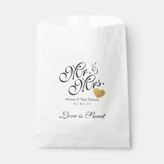 Wedding Favor Bag Faux Gold Foil Heart Mr. & Mrs.