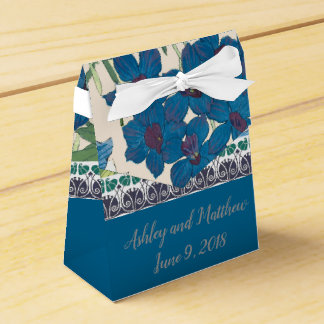 Wedding Favor in Blue Orchids Favour Box