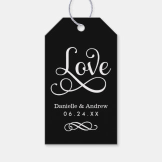 Wedding Favor Tags | Love Script in Black