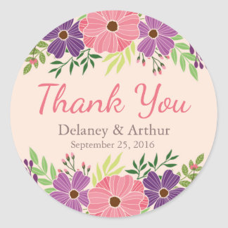 Wedding Favour Sticker in Wild Flower Theme